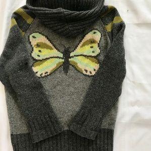 L Free People butterfly wool zip up cardigan sweat